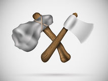 Two axes in a cross Royalty Free Stock Image