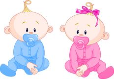 Two Babies. Two adorable babies - the girl with bow and the boy Stock Images