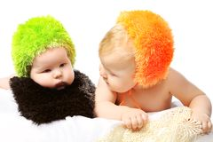 Two babies Stock Photos