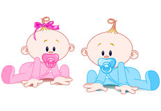 Two Babies. Two adorable babies - the girl with bow and the boy Stock Image