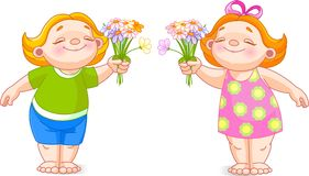 Two babies with bouquets Stock Photography