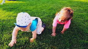 Two babies crawling on the bright green grass on a warm summer day