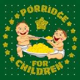 Two babies eat porridge Stock Photos