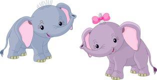 Two Babies elephants vector illustration
