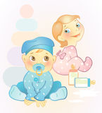 Two babies, girl and boy. Vector llustration of two babies, girl and boy Royalty Free Stock Photography
