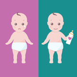 Two babies happy and sad Royalty Free Stock Image
