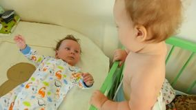 Two Babies Playing stock video footage
