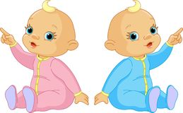 Two Babies pointing Royalty Free Stock Images