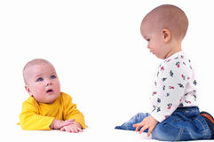 Two baby in beautiful costume Stock Photos