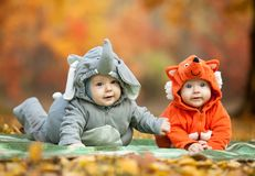Two baby boys dressed in animal costumes. In autumn park, focus on baby in elephant costume Royalty Free Stock Photography