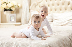 Two baby boys playing on bed Stock Images