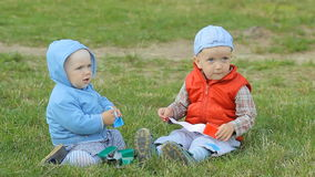Two baby boys playing together on the lawn in the park stock video footage