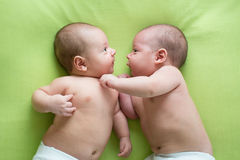 Two baby boys twin brothers Royalty Free Stock Photos