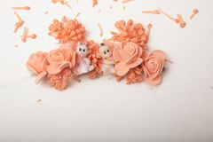 Two cute baby dolls sitting in front of artificial flowers garla. Two baby dolls in artificial flowers wreath , isolated on white with copy space Stock Images