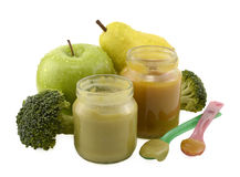 Two baby food jars with spoons Stock Image