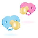 Two baby's dummy pink and blue. Vector illustration Stock Images