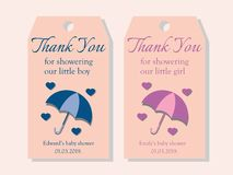 Two baby shower tags for a boy and for a girl. royalty free illustration