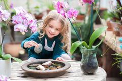 Two baby sisters in a winter garden behind an old wooden wooden rustic table with flowering orchids and a tub of water and stones. stock photo