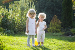 Two baby stand. Against a juicy grass Stock Images