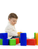 Two baby with toy blocks Stock Image