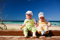 Two baby twin brother twins sitting on a beach royalty free stock images