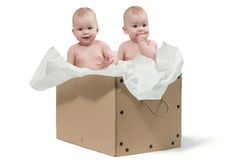 Two baby twins in the box stock images