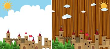 Two background with castle towers Royalty Free Stock Photography