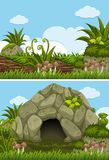 Two background scenes with cave and log Royalty Free Stock Photo