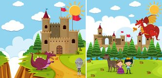 Two background scenes with dragon and knight Royalty Free Stock Photography