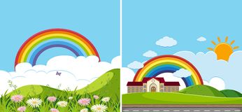Two background scenes with rainbow. Illustration Stock Photos