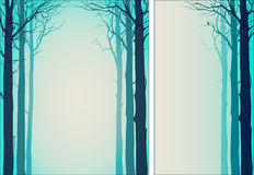Two background with trees. And space for your text, turquoise tones, illustration vector illustration
