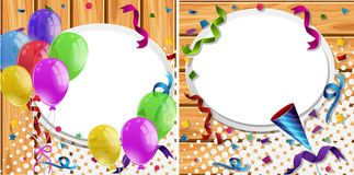 Two backgrounds with balloons and party ribbons. Illustration vector illustration