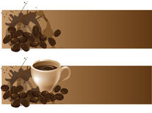 Coffee backgrounds. Two backgrounds with coffee beans and a coffee cup vector illustration