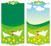 Two backgrounds with hen and chickens. Royalty Free Stock Photo