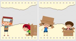 Two backgrounds with kids and cardboard boxes stock illustration