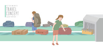 Two backpackers get luggage from the baggage carousel flat vecto. Illustration vector two backpackers get luggage from the baggage carousel flat style stock illustration