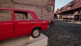 Two backside soviet car VAZ-2101. Front view of few retro cars in Exhibition of Soviet vintage automobiles Liepaja, Latvija stock footage