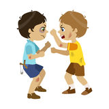 Two Bad Boys Fighting, Part Of Bad Kids Behavior And Bullies Series Of Vector Illustrations With Characters Being Rude. And Offensive. Schoolboy With Aggressive vector illustration