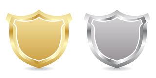 Two badges. Golden and silver Stock Illustration