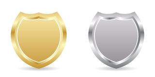 Two badges golden and silver. Vector illustration Vector Illustration