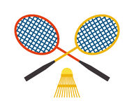 Two badminton racket and shuttlecock sport game leisure competition feather fitness vector. Royalty Free Stock Photography