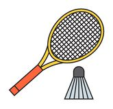 Two badminton racket and shuttlecock vector. Two badminton racket and shuttlecock sport game leisure competition feather fitness vector. Action fun equipment Stock Image