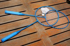 Two  badminton rackets and shuttlecock Royalty Free Stock Photography