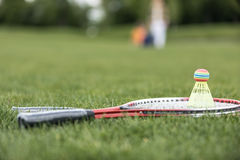 Two badminton racquets and shuttlecock on green grass Royalty Free Stock Photo
