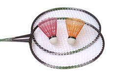 Two badminton racquets with shuttlecocks Stock Photo