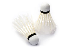 Two badminton shuttlecocks on white background Royalty Free Stock Images