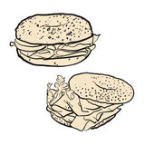 Two bagels, illustration. Hand drawn Vector Artwork Royalty Free Stock Photos