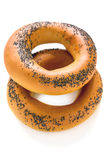 Two bagels with poppy seeds. Royalty Free Stock Photo