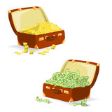 Two bags with coins and bills Royalty Free Stock Images