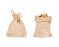 Two bags of coins Royalty Free Stock Photos